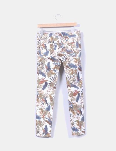 Jeans denim estampado floral