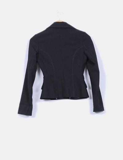 Chaqueta blazer negra tacto elastico detalle cintura cenida