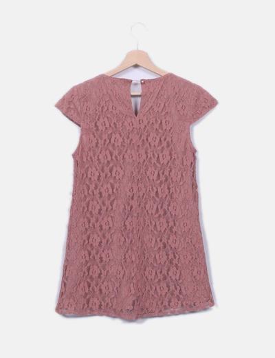 Vero Moda Vestido de renda rosa nude (desconto de 81%) - Micolet 870f93b98dc29