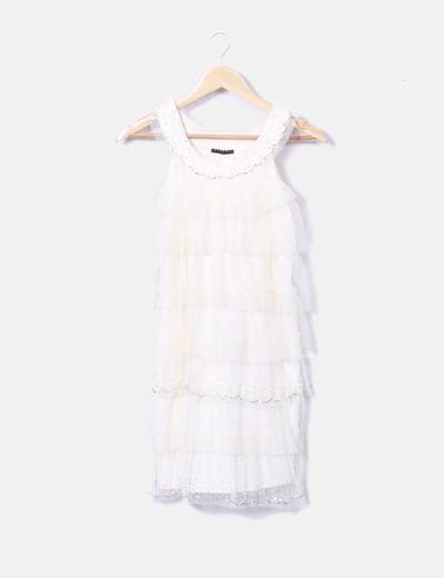 Vestido combinado tul
