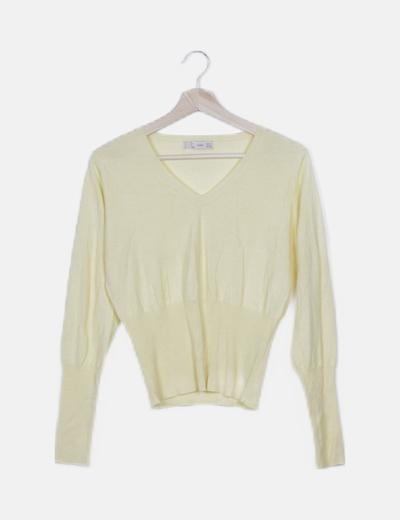 Jersey tricot amarillo escote V
