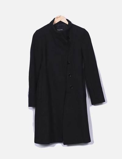 Abrigo largo paño negro