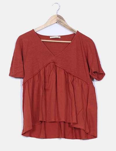 Blusa color caldera combinada Zara