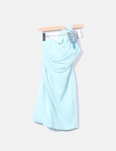 Vestido de fiesta asimétrico turquesa