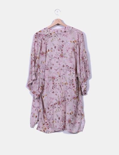Chaqueta de tela rosa palo floral