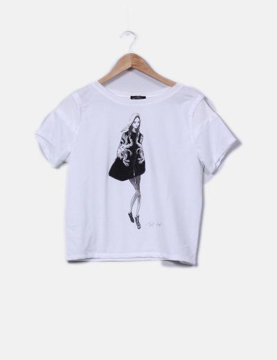Sudadera blanca manga corta print girl Zara