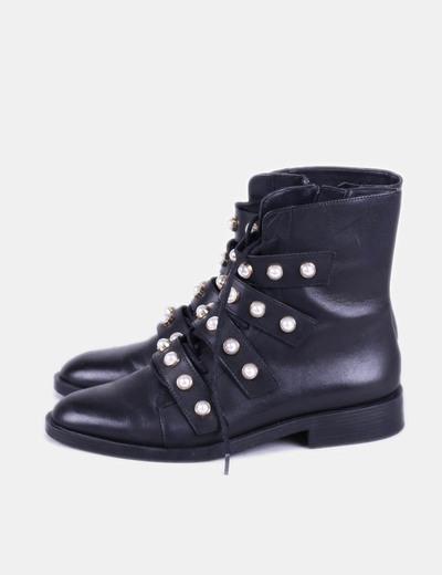 Botines negros con perlas Zara