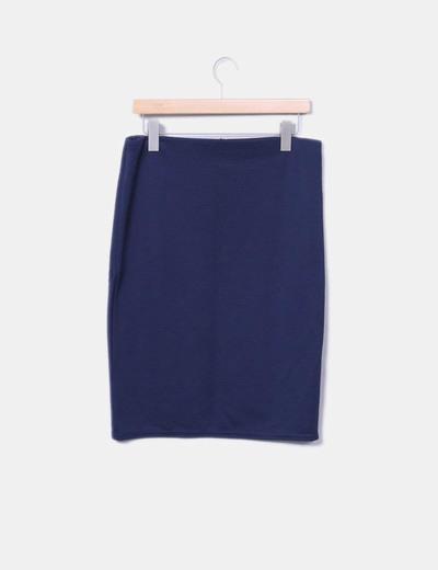 Falda de tubo azul marina texturizada