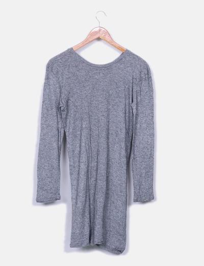 Vestido gris jaspeado letras terciopelo