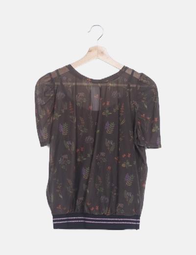Blusa marrón estampada banda inferior