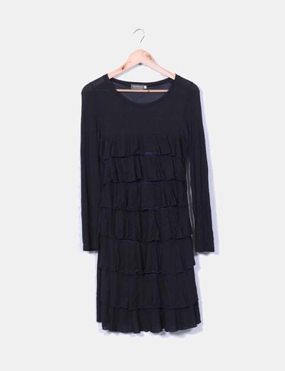 Vestido negro de volantes manga larga NoName