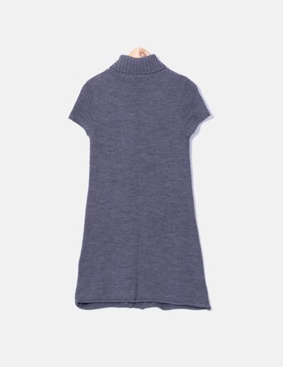 Vestido de punto gris manga corta