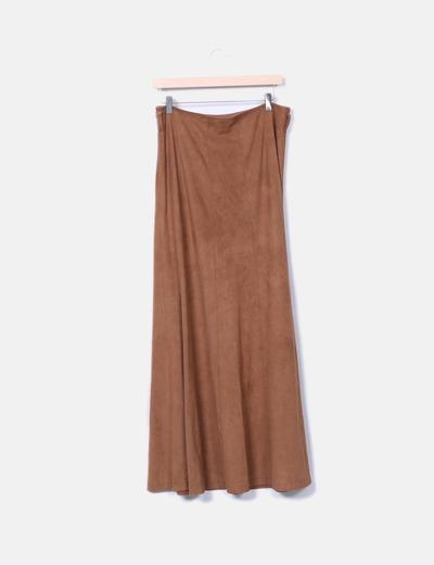 Falda maxi antelina marron