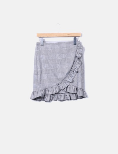 Falda mini gris de cuadros Mango