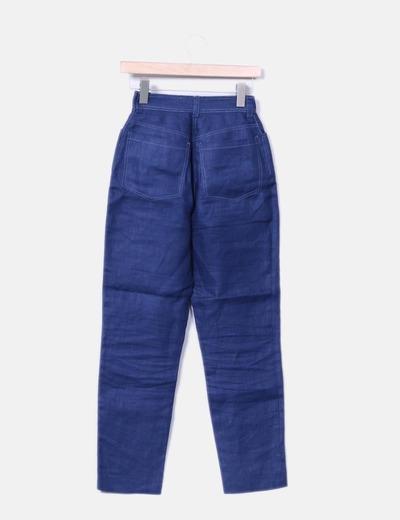 Pantalon de lino azul marino