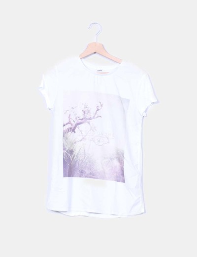 Camiseta blanca combinada print photo Pimkie