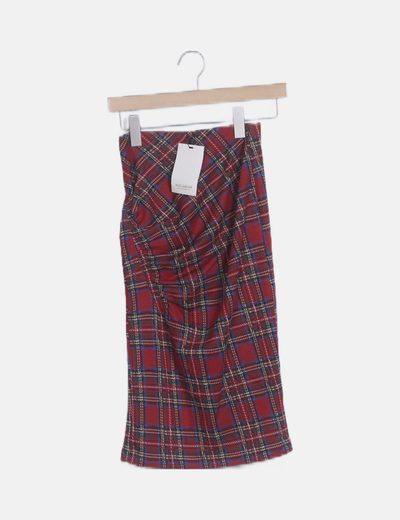 Falda midi tartán drapeada