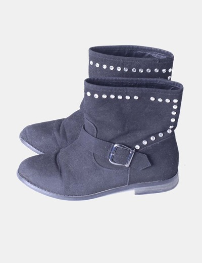 Bottines noires avec clous Tex Woman