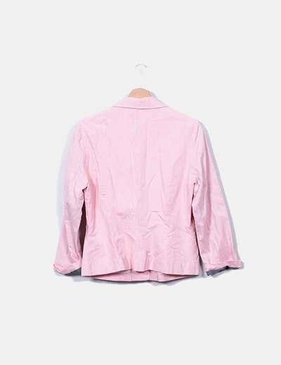 Blazer rosa jaspeada con cremalleras