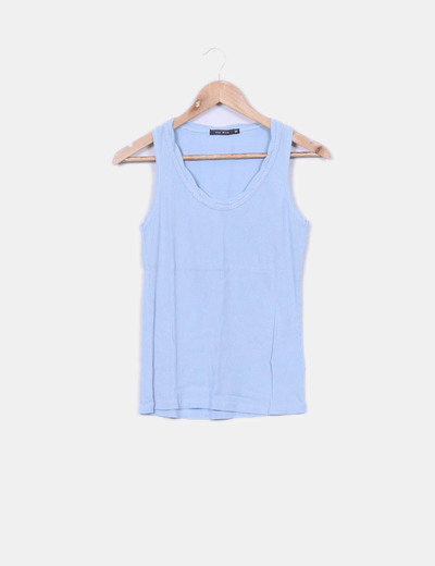 Camiseta azul clara canalé Easy Wear