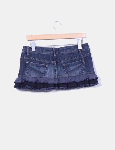 Mini falda denim oscura con blonda