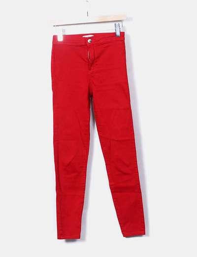 Red skinny trousers Bershka