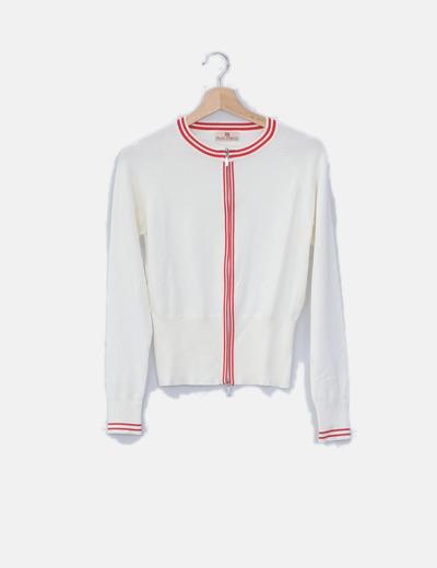 Chaqueta tricot blanco roto rayas rojas