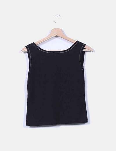 Camiseta negra de canale estampada