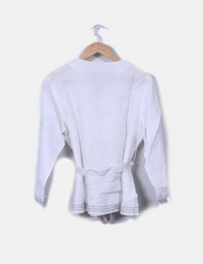 Camisa kaftan lino blanco