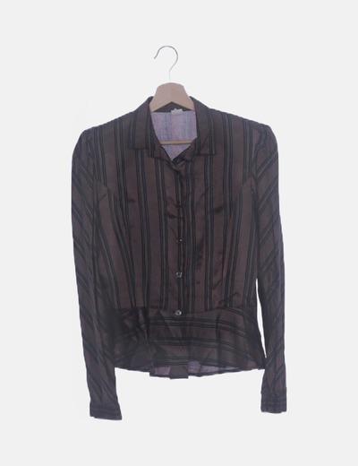 Camisa satinada marrón rayas