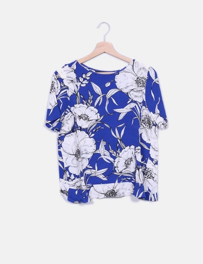 Blusa azul estampada Zara