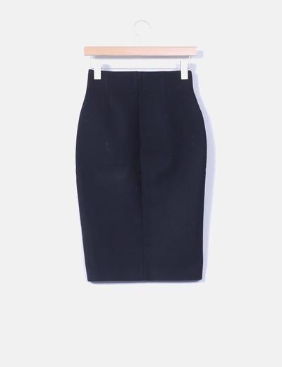 a09d81670b Zara Falda negra tubo con cremallera (descuento 78%) - Micolet