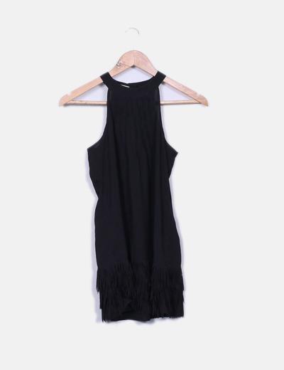 Blouse noire longue frangé Promod