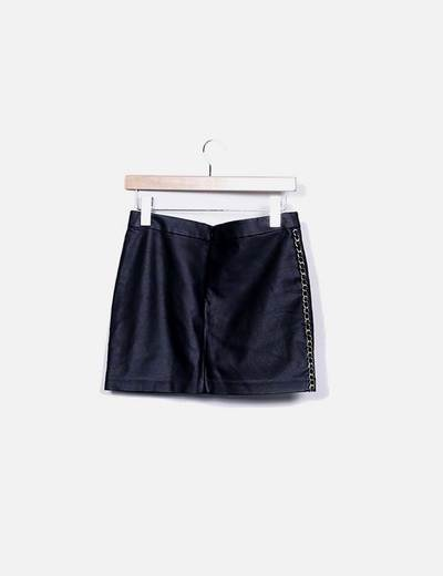 Minifalda polipoiel negra cadena