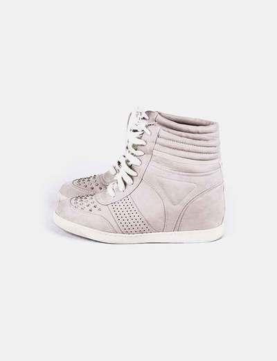 Chaussures de sport avec coin couleur taupe Suiteblanco