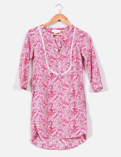 Vestido camisero de manga francesa con estampado cachemira H&M