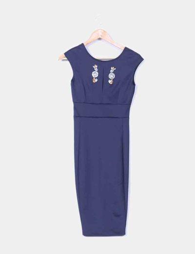 Robe bleu marine avec motif pierres précieuses Zara