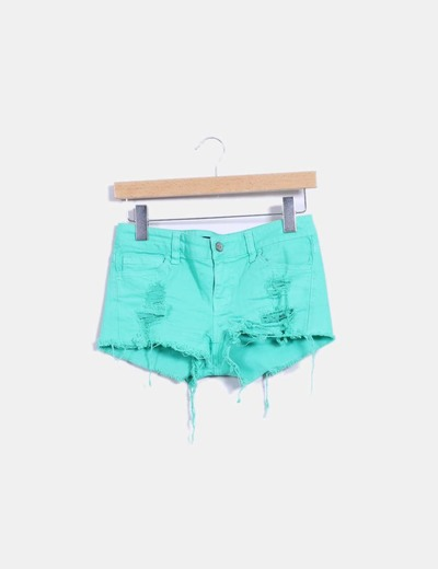 Shorts denim verde ripped Klique B