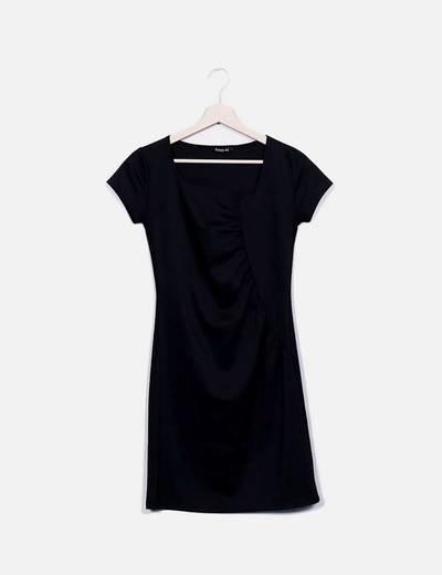Vestido mini negro fruncido Friday´s