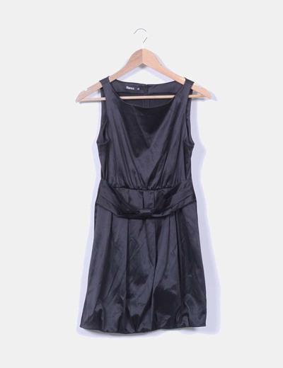Vestido negro satinado Suiteblanco
