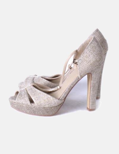 Zapato Peep Texturizado Toe Dorado Peep Texturizado Dorado Peep Dorado Zapato Toe Zapato Toe qULGMVSzp