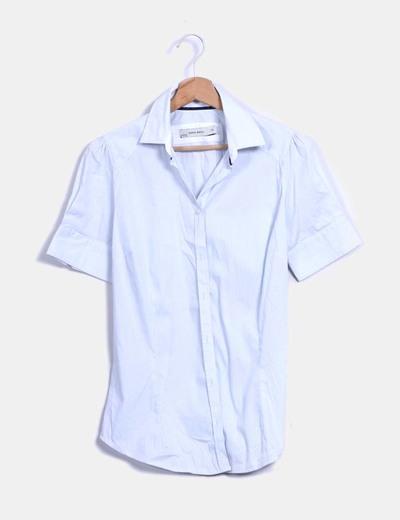Camisa raya fina azul y blanca  Zara