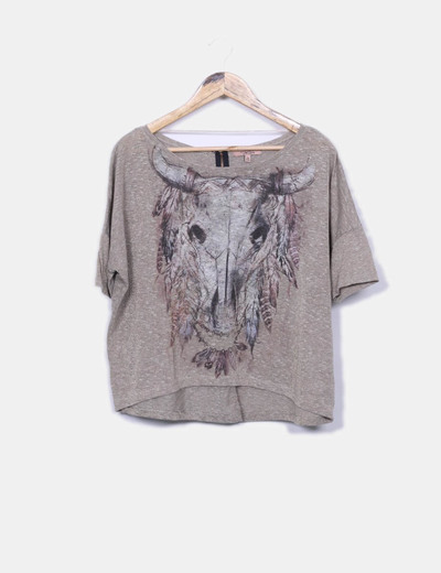 Blouse beige en or brillant Bershka