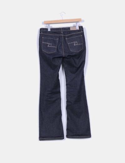 Jeans rectos con strass en bolsillos