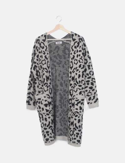 Chaqueta larga animal print