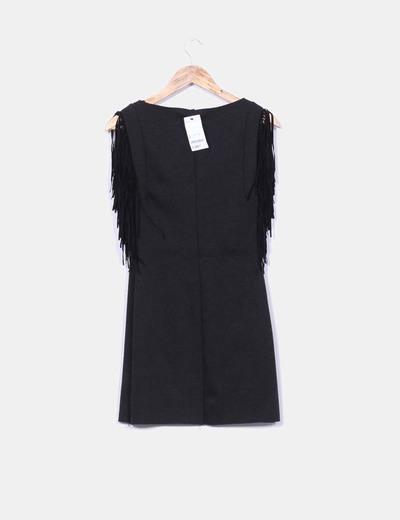 Vestido tricot elastico negro con flecos