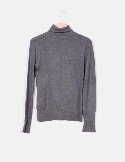 Jersey fino gris cuello vuelto
