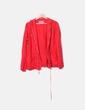 Chaquetón lino rojo con capucha Cortefiel