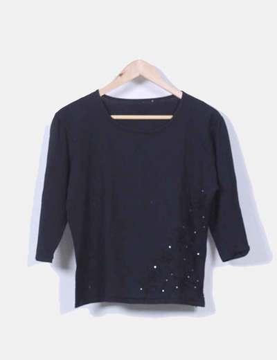 Suéter tricot negro con strass NoName
