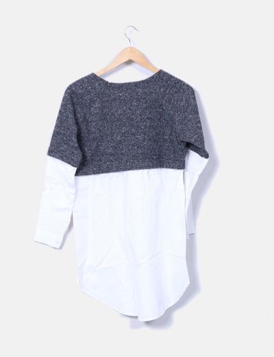 Vestido camisero con jersey gris